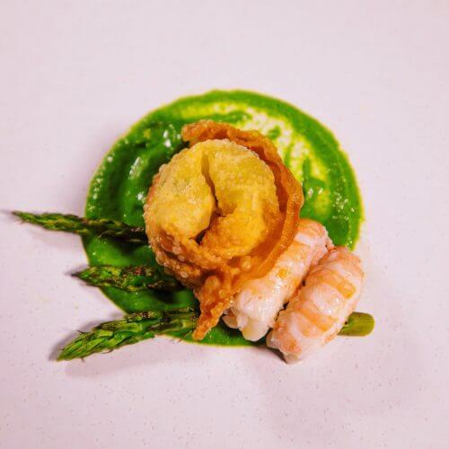 Langoustine with aromatic purée and a fried wonton